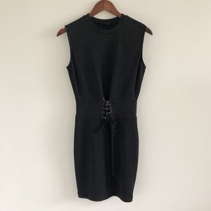 Bardot Mila Corset Detail Black Sheath Dress 6 / S